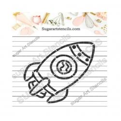 Rocket PYO cookie Stencil...