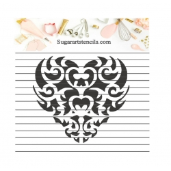 cookie stencil heart damask...