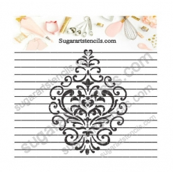 Damask cookie stencil NB1164
