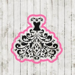 Damask dress wedding cookie...
