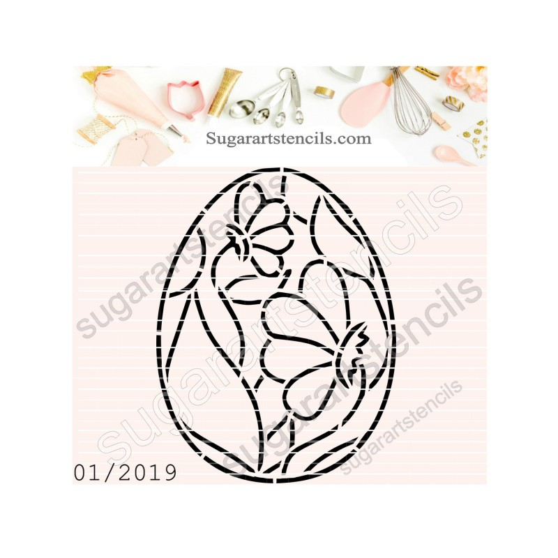 Easter Egg Pyo Cookie Stencil Floral Ft00146