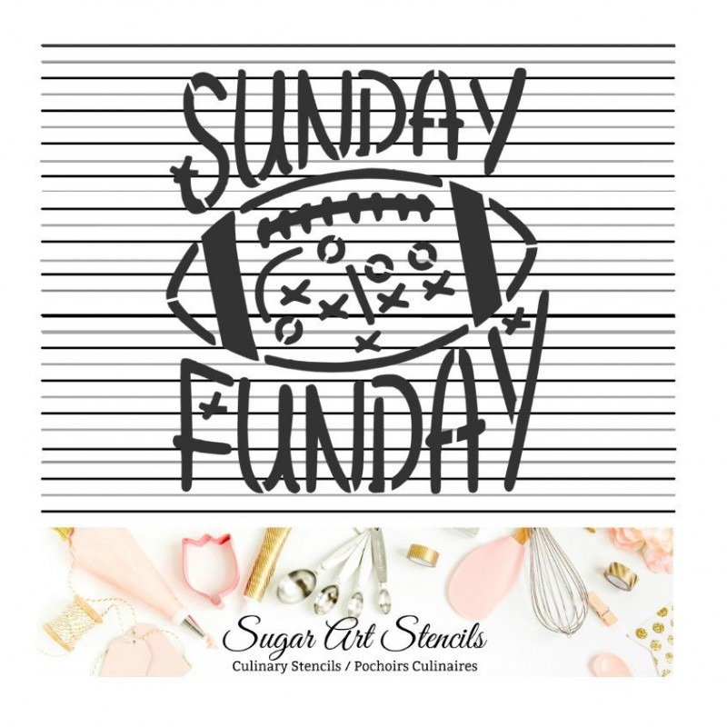 Football Sunday Funday cookie Stencil ST00725