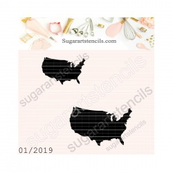 USA map cookie stencil NS01