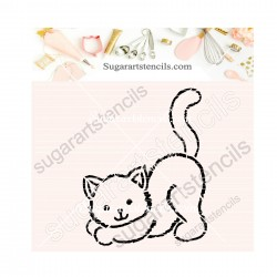 Cat PYO cookie Stencil SA00351