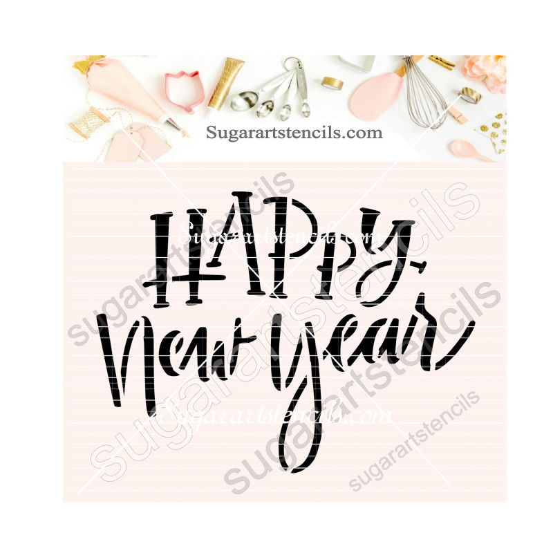 - New Year Sign Words Greeting Stencils 16.51 x 16.51 cm Happy New Year Stencil S