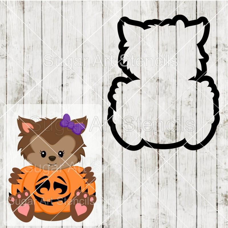 Halloween Werewolf Girl Pumpkin Sign Cookie Cutter Saj0097