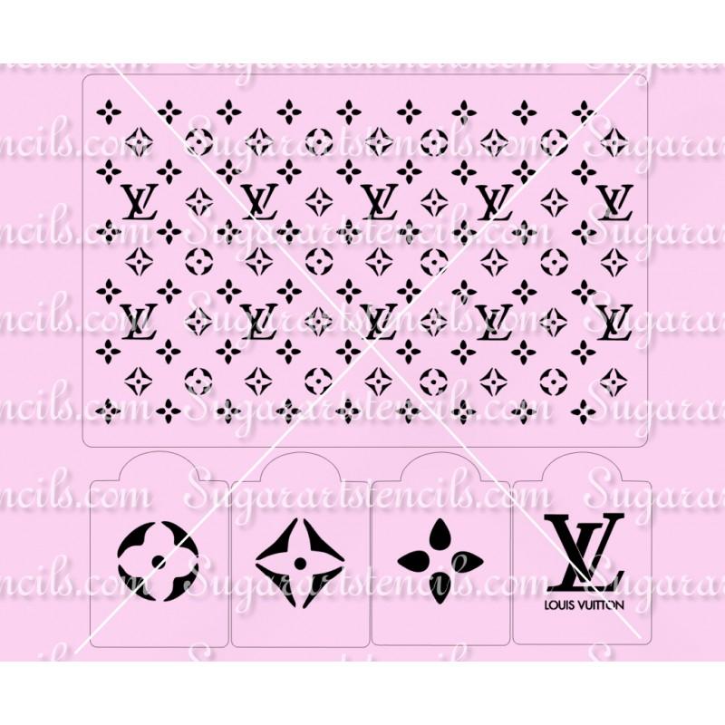 5 Pcs  Designer Stencil LV Louis Vuitton Cake Stencil SL20376