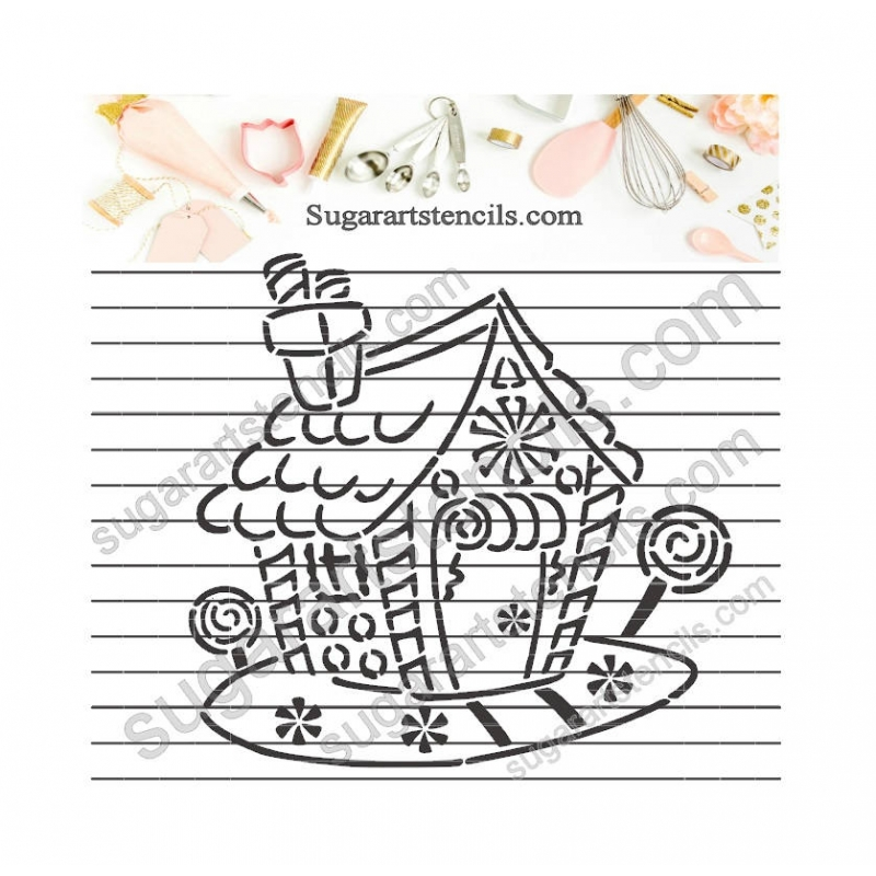 Christmas Gingerbread House Drawing.Christmas Gingerbread House Pyo Cookie Stencil Paint Your Own Ltw10