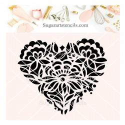 Floral heart cookie stencil...