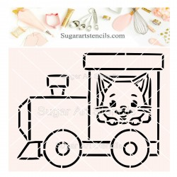 Cat locomotive PYO cookie...