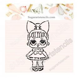 Doll PYO cookie Stencil D0037