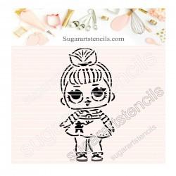 Doll PYO cookie Stencil D0038