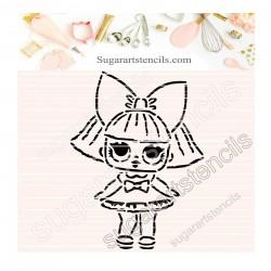 Doll PYO cookie Stencil D0039