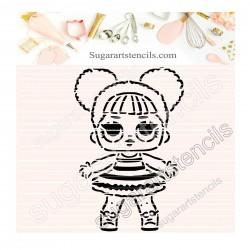 Doll PYO cookie Stencil D0041