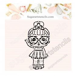 Doll PYO cookie Stencil D0043