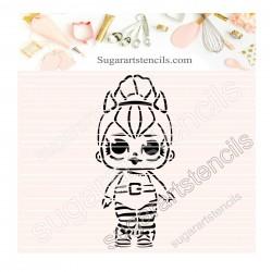 Doll PYO cookie Stencil D0044