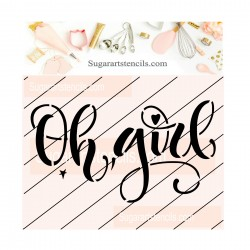 OH girl cookie stencil JB75